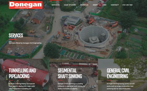 Screenshot of Services Page donegan.co.uk - Tunnelling and Engineering Contract Services - Donegan Civil Engineering - captured Oct. 26, 2017