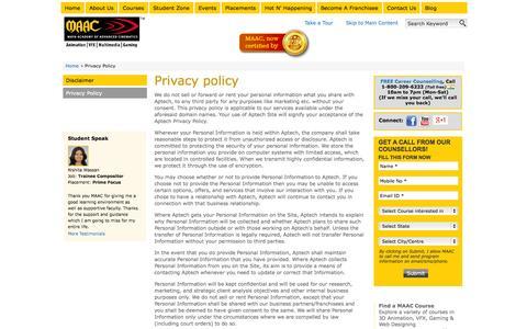 Screenshot of Privacy Page maacindia.com - Privacy Policy   maacindia.com - captured Sept. 24, 2014