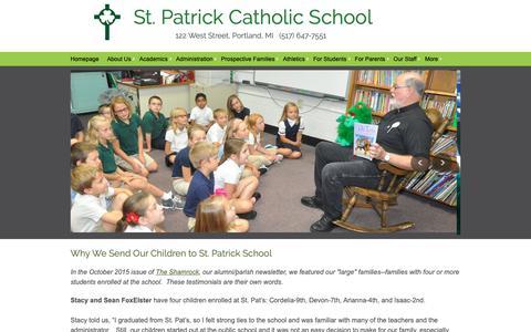 Screenshot of Testimonials Page portlandstpats.com - Portland St. Patrick Catholic School - Testimonials - captured Oct. 28, 2018