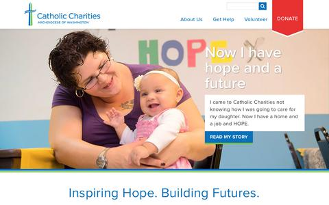 Screenshot of Home Page catholiccharitiesdc.org - Catholic Charities Archdiocese of Washington - captured July 17, 2017