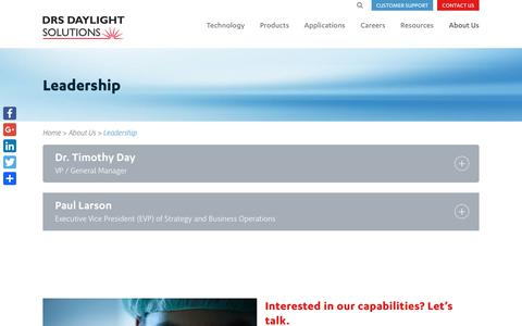 Screenshot of Team Page daylightsolutions.com - Experts In Molecular Spectroscopy, Detection & Imaging | Daylight Solutions Leadership - captured July 13, 2018