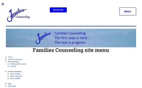 Screenshot of Menu Page simi-therapy.com - Counseling you can trust | Individuals, couples and families | Simi Valley Moorpark - captured Dec. 19, 2018
