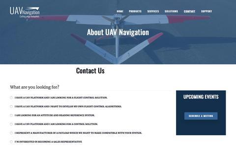 Screenshot of Contact Page uavnavigation.com - Contact us | UAV Navigation - captured Feb. 17, 2020