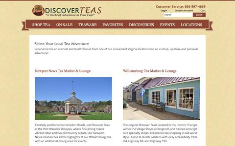 Screenshot of Contact Page Locations Page discoverteas.com - Select Your Local Tea Adventure - captured Oct. 24, 2014