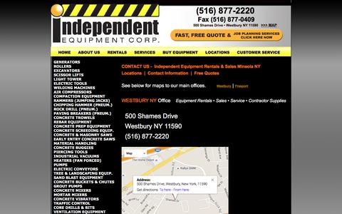 Screenshot of Contact Page Locations Page Maps & Directions Page iecrentalny.com - Mini Excavator Equipment Rentals in NY|CONTACT Independent Equipment Westbury NY - captured April 9, 2016