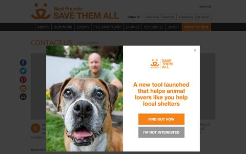 Screenshot of Contact Page bestfriends.org - Contact Us Phone, Email, Mailing Addresses | Best Friends Animal Society - captured Aug. 20, 2019