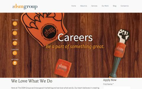 Screenshot of Jobs Page thedsmgroup.com - Marketing, PR, Advertising Careers - Bergen County, NJ - The DSM Group - captured Sept. 19, 2014