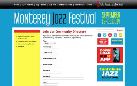 Screenshot of Signup Page montereyjazzfestival.org - Join our Community Directory | 57th Annual Monterey Jazz Festival - September 19 - 21, 2014 - captured Oct. 9, 2014
