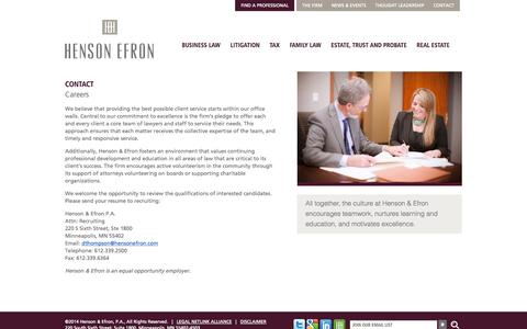 Screenshot of Jobs Page hensonefron.com - Legal Careers | Henson & Efron – Minneapolis Law Firm - captured Oct. 2, 2014