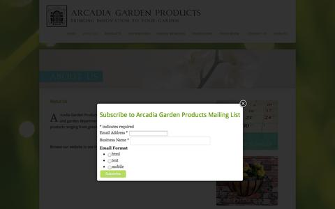 Screenshot of About Page arcadiagardenproducts.com - About Us | Arcadia Garden Products - captured Oct. 4, 2014