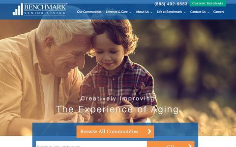 Screenshot of Home Page benchmarkseniorliving.com - Benchmark Senior Living | Senior Living - captured Sept. 7, 2017