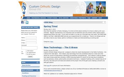 Screenshot of Blog customorthotic.ca - CODG  - CODG Blog - captured Oct. 3, 2014