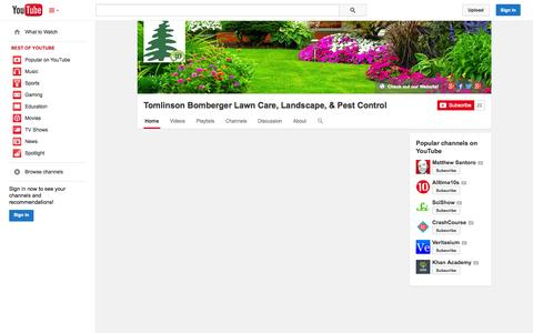Screenshot of YouTube Page youtube.com - Tomlinson Bomberger Lawn Care, Landscape, & Pest Control  - YouTube - captured Oct. 26, 2014