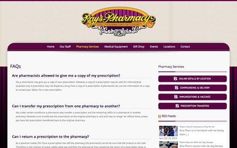 Screenshot of FAQ Page rayspharmacy.com - FAQs | Ray's Pharmacy - captured Oct. 26, 2014