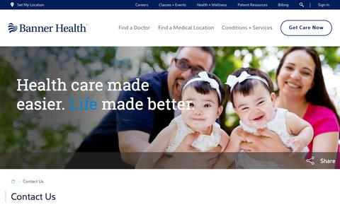 Screenshot of Contact Page bannerhealth.com - Contact Us - captured April 15, 2018