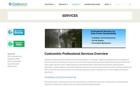 Screenshot of Services Page coolcentric.com - Services - Coolcentric - captured Sept. 29, 2018