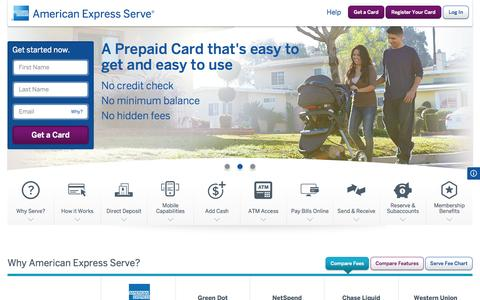 Screenshot of Home Page serve.com - Reloadable Prepaid Card | American Express Serve® Account - captured Sept. 18, 2014