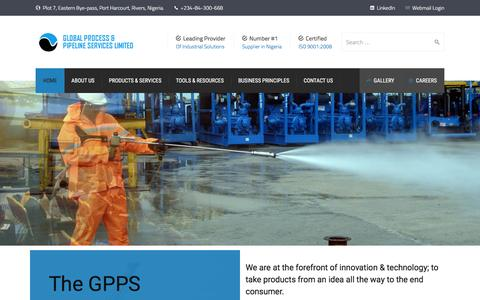 Screenshot of Home Page globalppsng.com - Home - Global Process & Pipeline Services Limited - captured Nov. 7, 2016