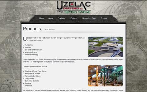 Screenshot of Products Page uzelacind.com - Uzelac Ind. - Products - captured Nov. 5, 2014