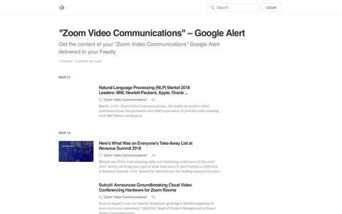 """Zoom Video Communications"" – Google Alert"