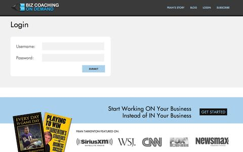 Screenshot of Login Page bizcoachingondemand.com - Login  »  BizCoaching on Demand - captured Oct. 5, 2014