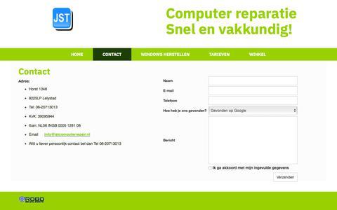 Screenshot of Contact Page jstcomputerrepair.nl - Contacten - captured July 26, 2018