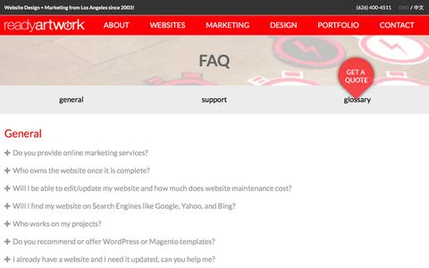 Screenshot of FAQ Page readyartwork.com - Frequently Asked Questions FAQ | Ready Artwork - captured Feb. 18, 2016