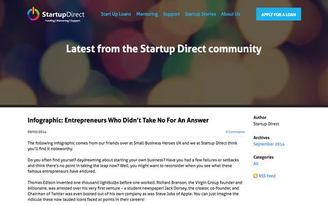 Screenshot of Blog startupdirect.org - Startup Direct - Start Up Advice Blog - captured Sept. 30, 2014