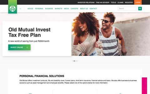Screenshot of Home Page oldmutual.co.za - Investments, Insurance, Loans & Asset Management | Old Mutual - captured Aug. 17, 2018