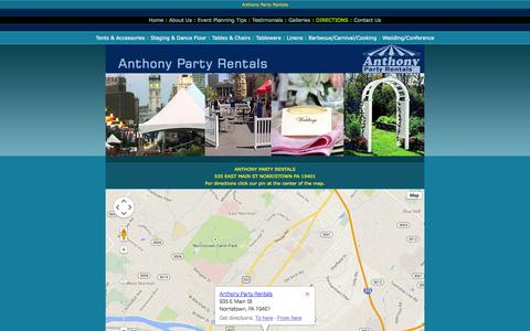 Screenshot of Maps & Directions Page anthonyrental.com - Anthony Party Rentals in Norristown, Philadelphia, PA,  DE, NJ - captured Oct. 4, 2014