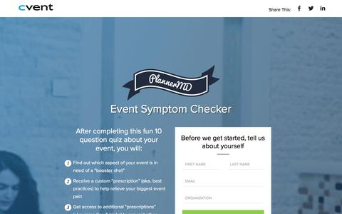 Screenshot of Landing Page cvent.com - Cvent | PlannerMD Symptom Checker - captured April 21, 2018