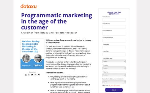 Screenshot of Landing Page dataxu.com - On demand webinar Programmatic Marketing Age of Customer - captured March 1, 2018