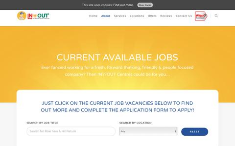 Screenshot of Jobs Page in-n-out.co.uk - Current Vacancies & Jobs - IN'n'OUT Centres - captured Oct. 2, 2017