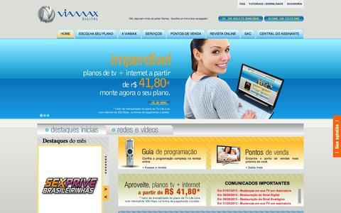 Screenshot of Home Page viamax.com.br - Viamax Digital - A TV por assinatura de Santa Catarina - captured Oct. 6, 2014