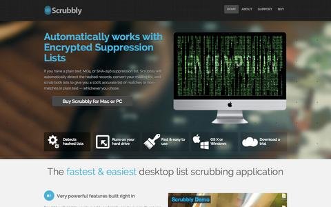 Screenshot of Home Page scrubbly.com - Scrubbly - The Fastest and Easiest Email List Scrubbing Application - captured Oct. 6, 2014