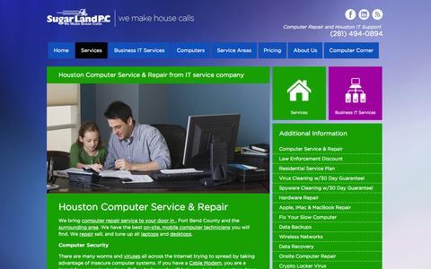 Screenshot of Services Page sugarlandpc.com - Computer Service & Repair at SugarLandPC - captured Oct. 8, 2014