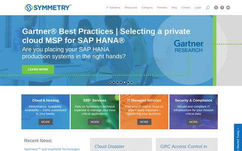 Screenshot of Home Page symmetrycorp.com - Symmetry: Leading IT Managed Services & Hosting Provider - captured Nov. 15, 2017