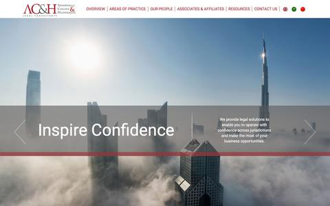 Screenshot of Home Page ach-legal.com - ACH Legal Consultants in UAE, International Law firm - captured Feb. 6, 2016