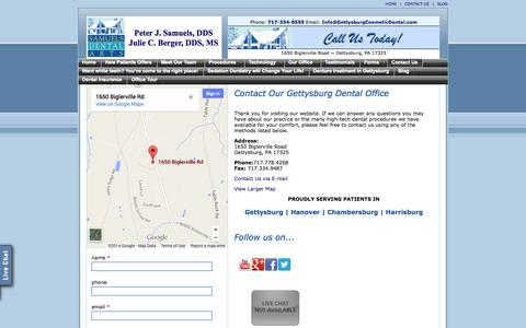 Screenshot of Contact Page Maps & Directions Page gettysburgcosmeticdental.com - Gettysburg dentists | Sedation Dentist | Dental work asleep - captured Oct. 23, 2014