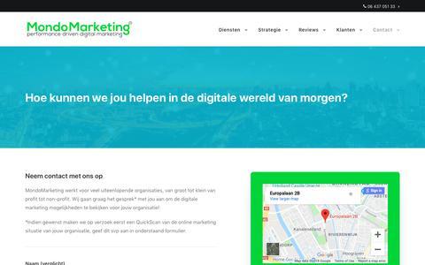 Screenshot of Contact Page mondomarketing.nl - Contact   MondoMarketing Digital Marketingbureau - captured Nov. 7, 2018