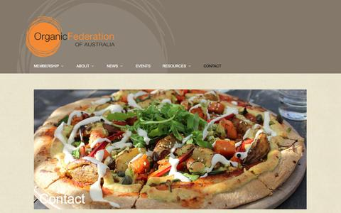 Screenshot of Contact Page ofa.org.au - Contact - Organic Federation of Australia - captured Nov. 5, 2014