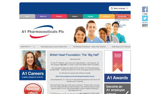 Screenshot of Home Page a1plc.co.uk - A1 Pharmaceuticals Plc | Passionate about Healthcare - captured Oct. 2, 2018
