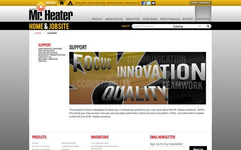 Screenshot of Support Page mrheater.com - Support - captured Sept. 19, 2014