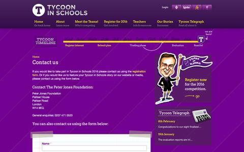 Screenshot of Contact Page tycooninschools.com - Contact us | Tycoon in Schools - captured March 3, 2016