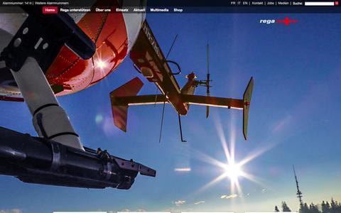 Screenshot of Home Page rega.ch - Rega – Schweizerische Rettungsflugwacht Rega – Alarmnummer 1414 - captured Jan. 10, 2016
