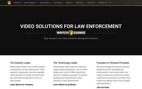 Screenshot of Home Page watchguardvideo.com - WatchGuard: Police Body Cameras & In-Car Video Systems - captured July 16, 2016