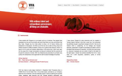 Screenshot of Testimonials Page vivacapital.in - Viva Capital Advisors - captured Sept. 26, 2014