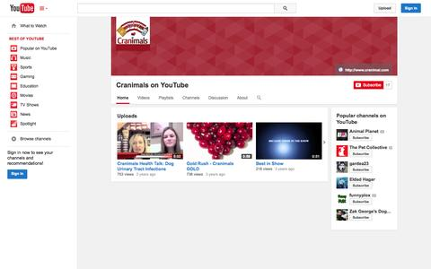 Screenshot of YouTube Page youtube.com - Cranimals on YouTube  - YouTube - captured Nov. 2, 2014