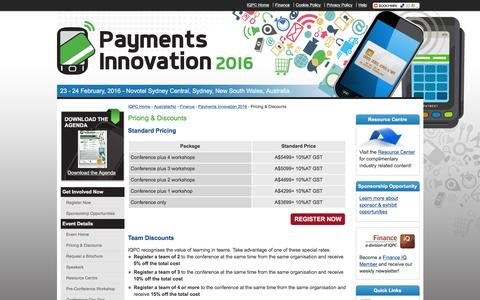 Screenshot of Pricing Page payments-australia.com.au - Payments Innovation 2016 - Pricing & Discounts - captured March 16, 2016