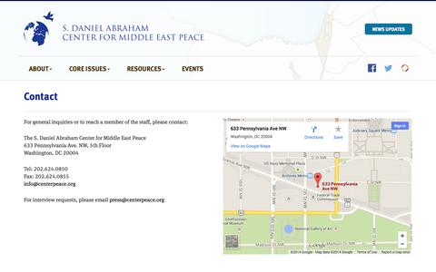 Screenshot of Contact Page centerpeace.org - Contact - S. Daniel Abraham Center for Peace - captured Oct. 3, 2014